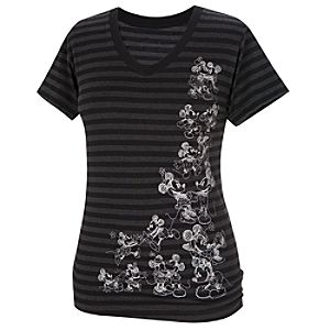Striped V-Neck Minnie and Mickey Mouse Tee for Women