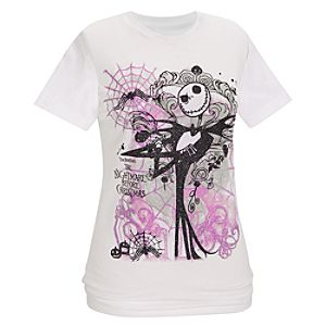 Organic Glittery Jack Skellington Tee for Women