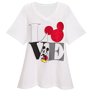 Organic V-Neck Love Mickey Mouse Tee for Women