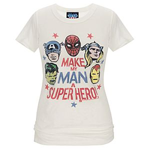 Fitted Make My Man a Superhero Marvel Tee by Junk Food for Women