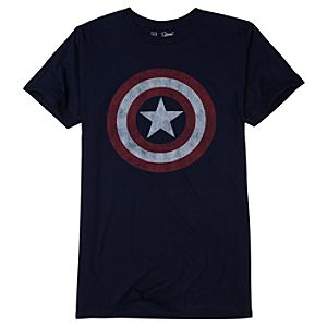Distressed Shield Captain America Tee by Mighty Fine for Men