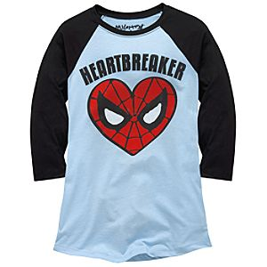 Raglan Sleeve Heartbreaker Spider-Man Tee by Mighty Fine for Women