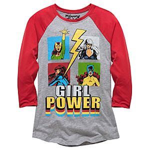 Raglan Sleeve Girl Power Marvel Tee by Mighty Fine for Women