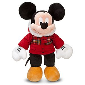 2011 Holiday Plaid Mickey Mouse Plush Toy -- 18 H