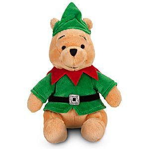 Mini Bean Bag Santas Elf Pooh Plush Toy -- 9 H