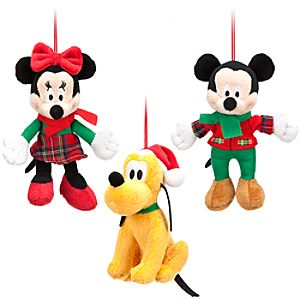 Mickey Mouse Plush Ornament Set - Holiday