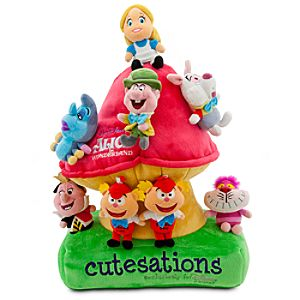 Cutesations Alice in Wonderland Series Plush Set of 8 with Plush Mushroom