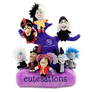 Cutesations Disney Villains Series Plush Set of 8 with Plush Tree