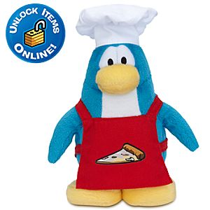 Club Penguin Pizza Chef Penguin Plush Toy -- 6 H