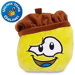 Club Penguin Yellow Pet Puffle Plush with Chocolate Beret -- 4 H