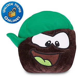 Club Penguin Black Pet Puffle Plush with Green 180 Cap -- 4 H
