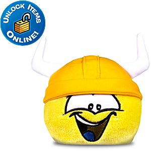 Club Penguin Yellow Pet Puffle Plush with Gold Viking Helmet -- 4 H