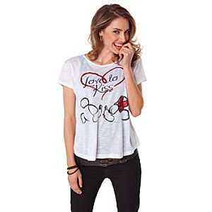 Love to Kiss Minnie and Mickey Mouse Tee for Women by Disney Couture
