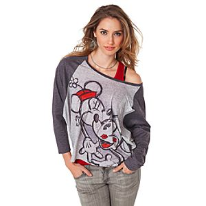 Raglan Dolman Sleeve Minnie and Mickey Mouse Tee for Women