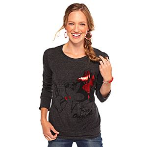 Long Sleeve Foil Minnie Mouse Tee for Women