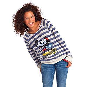 Vintage Raglan Long Sleeve Striped Minnie and Mickey Mouse Tee for Women