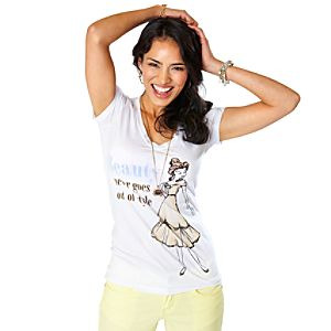 Disney Princess Vintage Fashion V-Neck Belle Tee for Women by Disney Couture