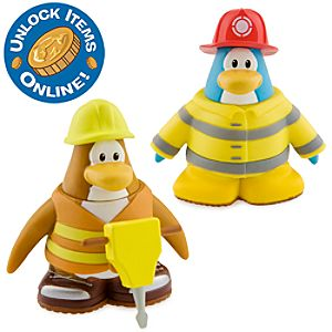 Club Penguin 2 Mix N Match Figure Pack - Firefighter and Construction Worker