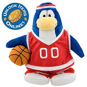 Club Penguin 6 1/2 Limited Edition Penguin Plush - Red Basketball Player