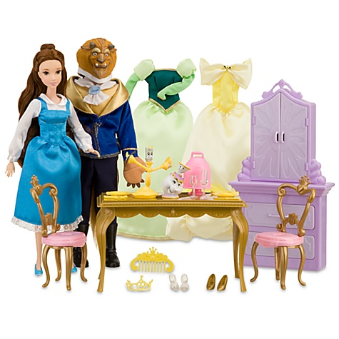 Nib disney 30 pc deluxe beauty the beast dining playset for Beauty and the beast table and chairs
