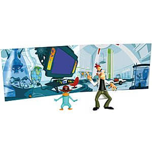 Phineas and Ferb Dr. Doofenshmirtz and Agent P Action Figures  -- 2-Pc. + Play Backdrop