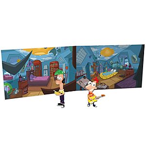 Phineas and Ferb Action Figures -- 2-Pc. + Bedroom Play Backdrop