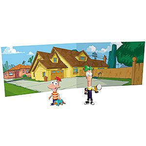 Phineas and Ferb Action Figures -- 2-Pc. + House Play Backdrop