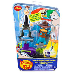 Phineas and Ferb: Agent P & Dr. Doofenshmirtz Parachute and Laser-inater Figurine Set -- 2-Pc.