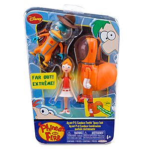 Phineas and Ferb: Agent P and Candace Tootin Space Suit Figurine Play Set -- 2-Pc.