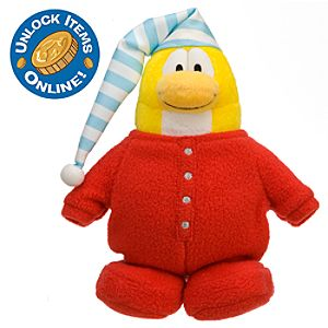 Club Penguin 6 Limited Edition Penguin Plush -- Red Pajamas (Rare Chase)