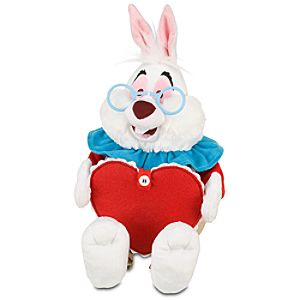 Personalized Valentine's Day White Rabbit Plush -- 11''