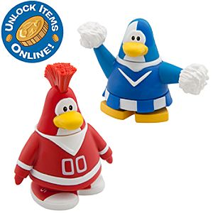 Club Penguin 2 Mix N Match Figure Pack -- Red Team and Blue Team Cheerleader