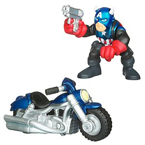 Marvel Super Hero Squad -- Captain America and Motorcycle Action Figures