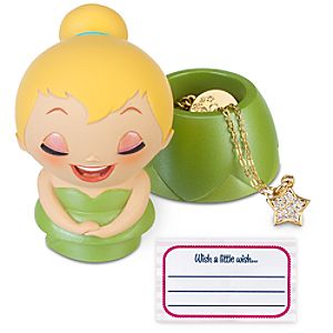 Kidada for Disney Store Wish-a-Little Tinker Bell Figure with Charm Necklace
