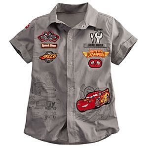 Personalizable Woven Pit Crew Lightning McQueen Shirt for Boys