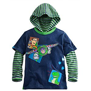 Hooded Double-Up Long Sleeve Toy Story Tee for Boys