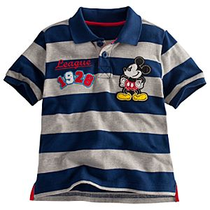 Striped Mickey Mouse Polo Shirt for Boys