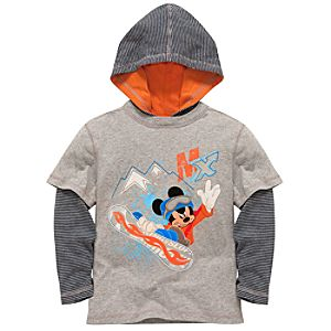 Hooded Double-Up Long Sleeve Mickey Mouse Tee for Boys