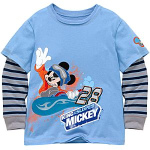 Double-up Striped Long Sleeve Mickey Mouse Tee for Boys