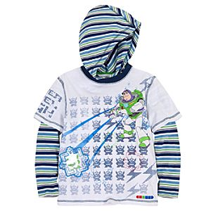 Double-Up Long Sleeve Hooded Toy Story Tee for Boys