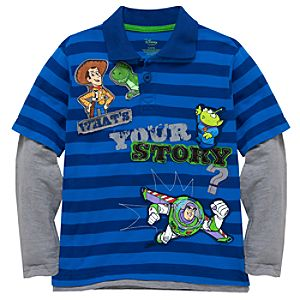 Double-Up Long Sleeve Striped Toy Story Polo Shirt for Boys