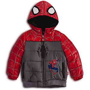 Personalizable Puffy Spider-Man Jacket for Boys