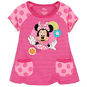Striped and Polka-Dotted Minnie Mouse Tee for Toddler Girls