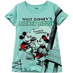 Classic Poster Mickey and Minnie Tee for Girls -- ''Building a Building''