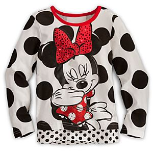 Dazzling Long Sleeve Minnie Mouse Tee for Girls