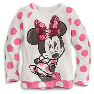 Sequined Long Sleeve Minnie Mouse Tee for Girls