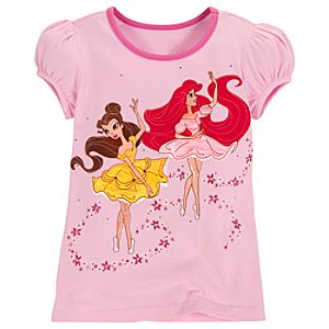 Ballerina Ariel and Belle Disney Princess Tee for Girls