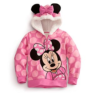 Plush Ears Fleece Pullover Minnie Mouse Hoodie for Girls