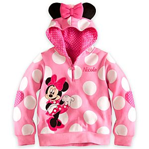 Minnie Mouse Ear Hoodie for Girls - Personalized