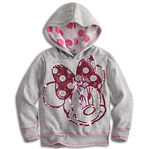 Sequined Pullover Fleece Minnie Mouse Hoodie for Girls